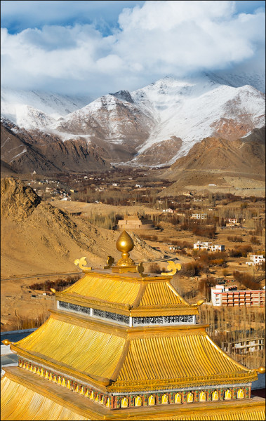 Clouds breaking up over the city of Leh, India
