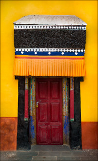 A colorful door at the 15th Century Thicksay Monastery.